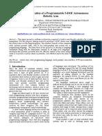 Design and Fabrication of a Programmable 5-DOF Autonomous Robotic Arm Journal