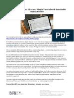 WordPress Plugin Tutorial - Create a WordPress Members Directory