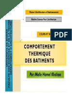 Cours 07 Comportement Thermique Des Batiments