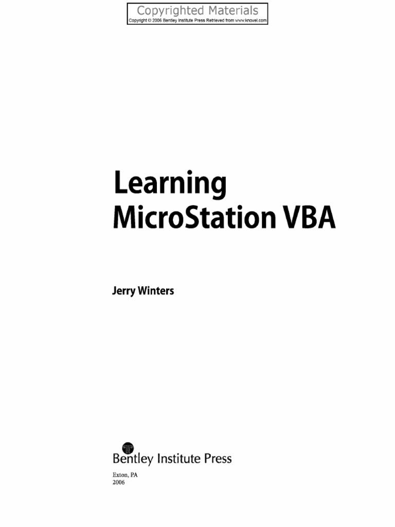 Winters Learning_MicroStation_VBA pdf   Visual Basic For