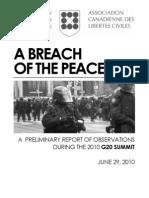 CCLA G20 Interim Report - A Breach of the Peace, June 29 2010