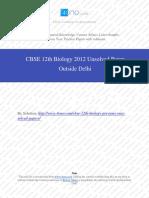 Biology 2012 Unsloved Paper Outside Delhi