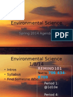 Agenda Spring 2014 Environmental Science 8