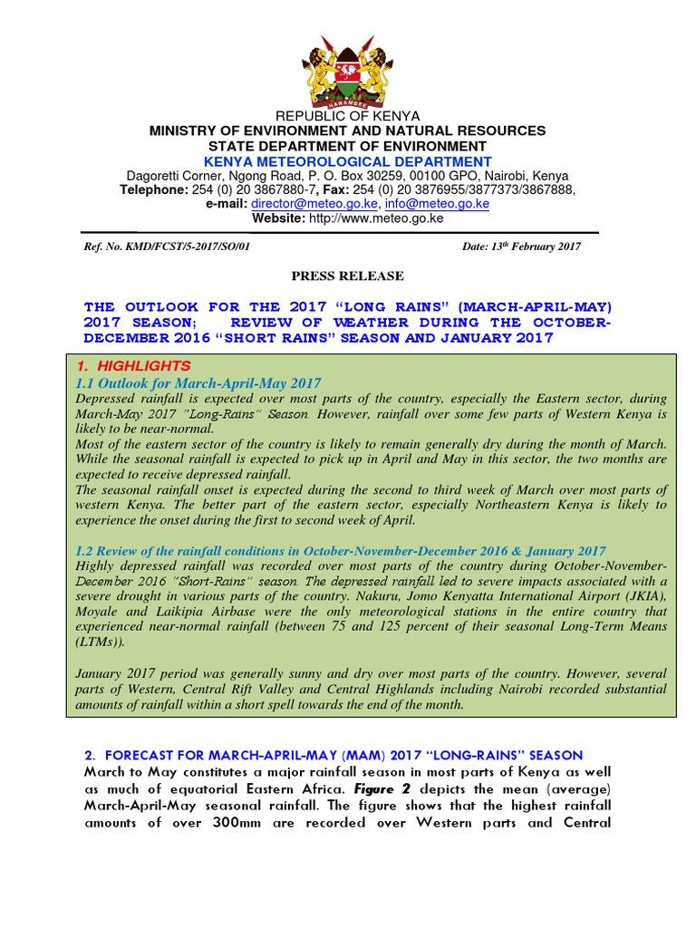 Mam 2017 Fcst Fnl | Rain | Kenya