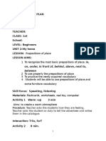 Lesson Plan Prepositions of Place