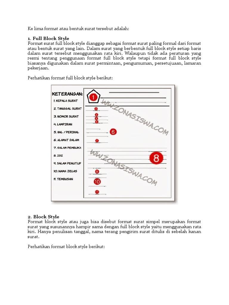 Contoh Surat Dinas Berbentuk Full Block Style Simak Gambar