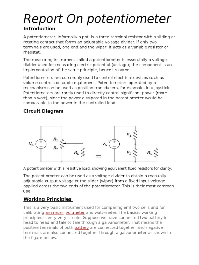 Potentiometer | Telecommunications Engineering | Electrical Components