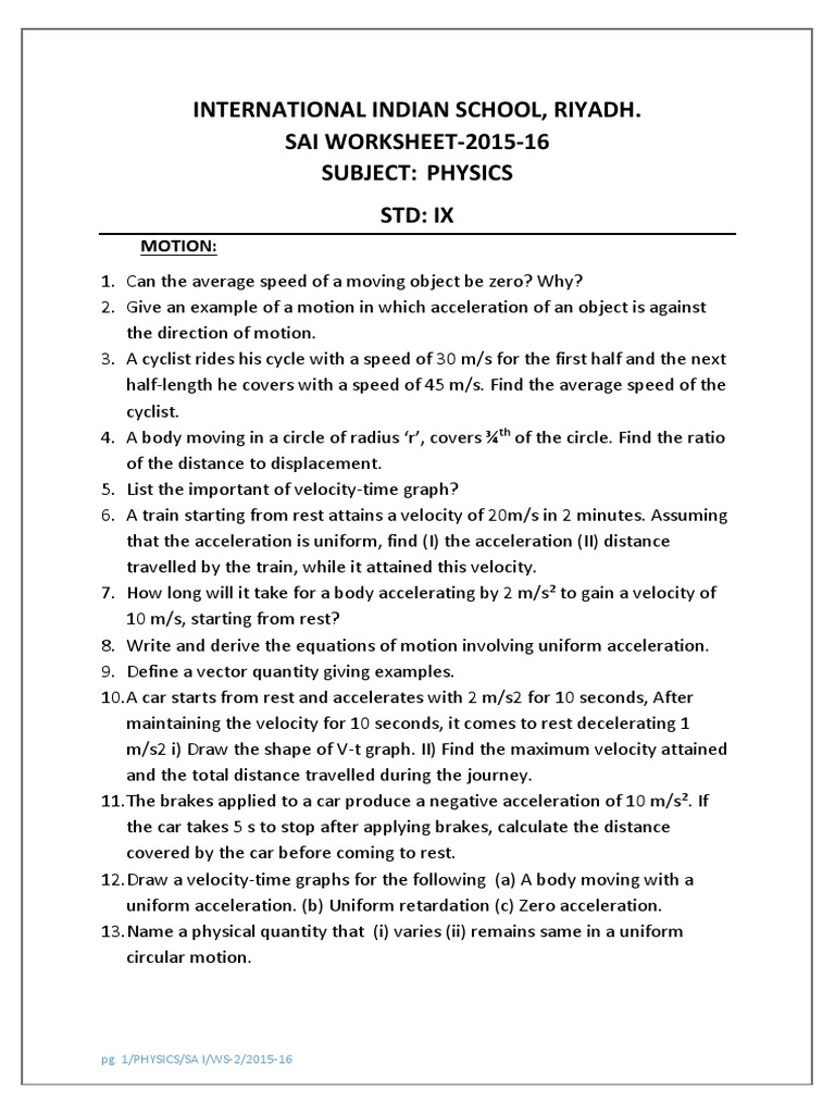 Physics Worksheet 2 Class IX Motion – Motion Worksheet