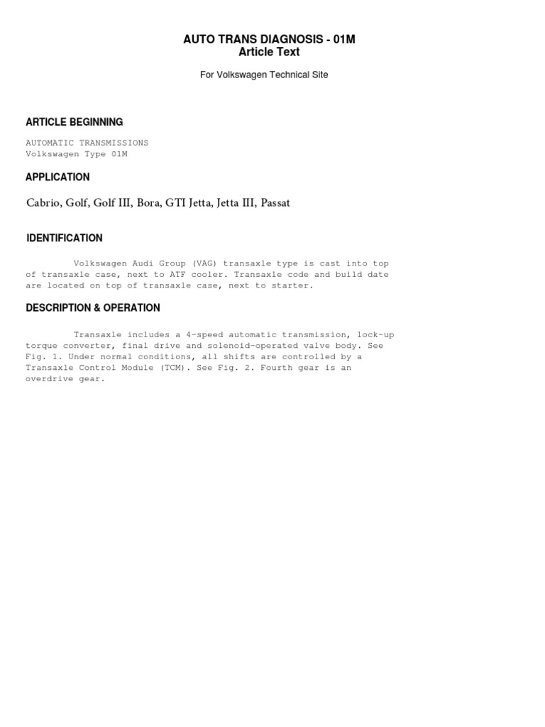 Volkswagen Audi Transmision Caja Automatica 01M Manual