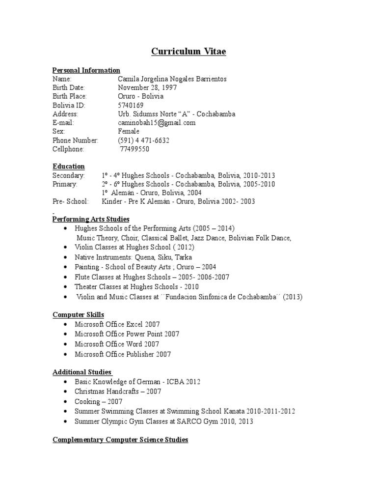 Curriculum Cam I 342 Bolivia Physics Mathematics