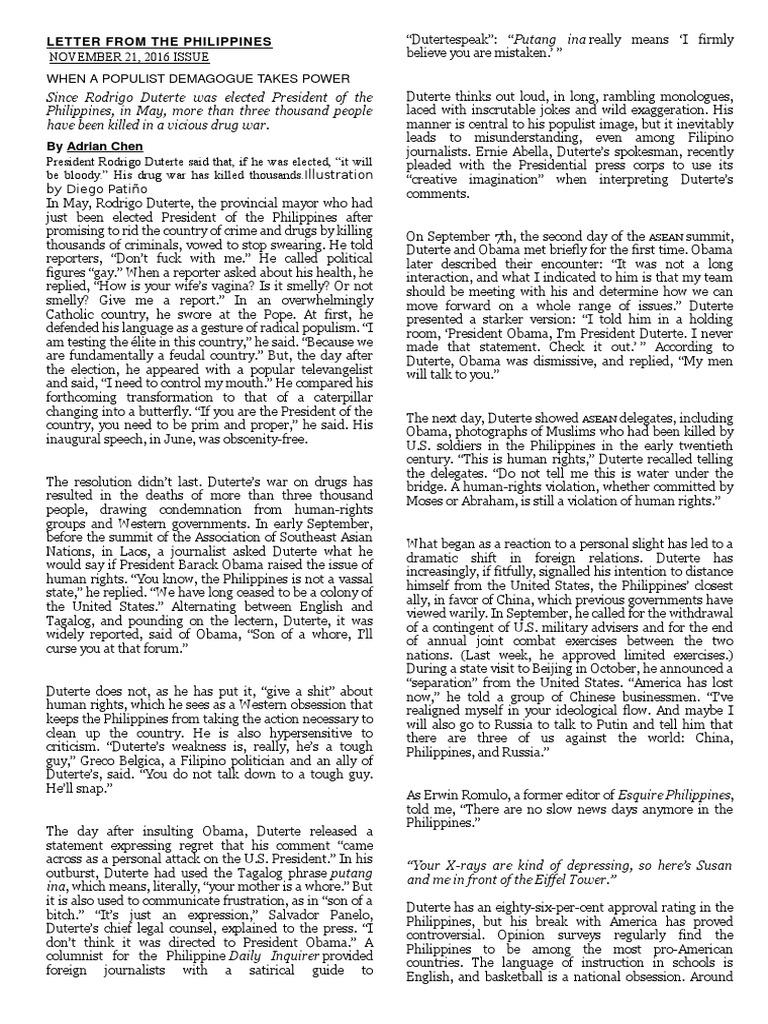 Letter From The Philippines Rodrigo Duterte Philippines