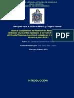Nivel de Cumplimiento del Protocolo de Atención de IVU en el Embarazo en pacientes ingresadas al servicio de Gineco-Obstetricia del Hospital Regional Asunción de Juigalpa en el período comprendido de enero a junio de 2011