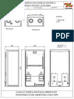 Caixa e tampa em policarbonato polifásica com abertura para DPS