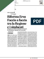Riforma Ersu, faccia a faccia Regione Sindacati - Il Corriere Adriatico del 13 febbraio 2017