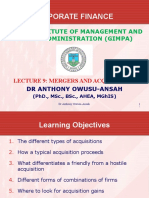Lecture 9 - Mergers and Acquisitions (1)