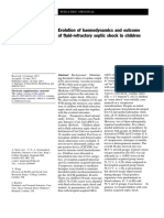 Evolution of Haemodynamics and Outcome of Fluid Refractory Septic Shock in Children