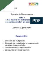 7.1 Modelo Del Multiplicador Para Una Economía Cerrada y Sin Sector Público