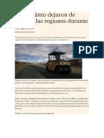Sepa Cuánto Dejaron de Invertir Las Regiones Durante El 2016
