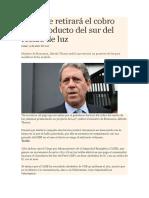 MEF, Se Retirará El Cobro Por Gasoducto Del Sur Del Recibo de Luz