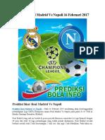Prediksi Real Madrid vs Napoli 16 Februari 2017