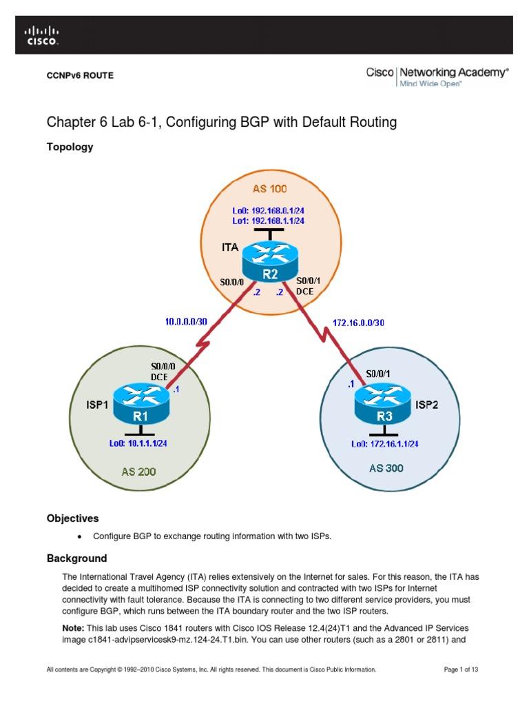 CCNPv6_ROUTE_Lab6-1_BGP_Config_Student_Form pdf   Router