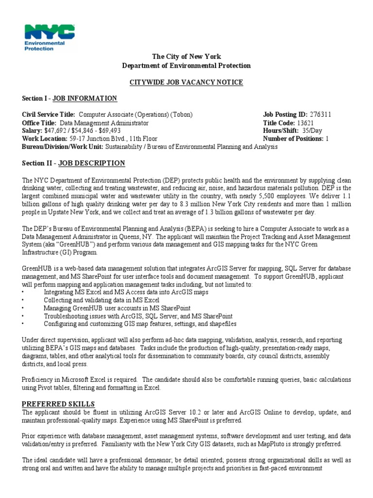 NYC DEP GIS Job Posting - GreenHUB | Arc Gis | Geographic
