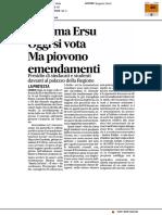 Riforma Ersu oggi si vota ma piovono emendamenti - Il Corriere Adriatico del 14 febbraio 2017