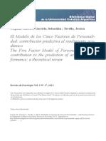 El Modelo de Los Cinco Factores de Personalidad, Contribución Predictiva Al Rendimiento Académico