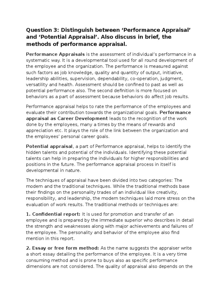 distinguish between performance appraisal and potential also discuss in brief the methods of performance appraisal performance appraisal emergence