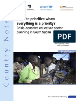 What to prioritize when everything is a priority? Crisis-sensitive education sector planning in South Sudan