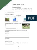 Ficha de Ciências - 5.º Ano