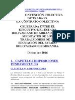 Vi Convención Colectiva de Los Trabajadores de La Educación