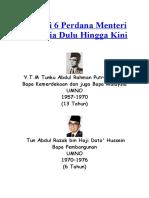 Senarai 6 Perdana Menteri Malaysia Dulu Hingga Kini