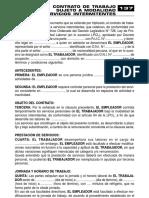 CONTRATO DE TRABAJO SUJETO A MODALIDAD PARA SERVICIOS INTERMITENTES