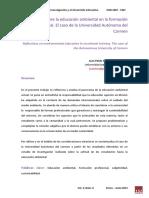 Reflexiones Sobre La Educación Ambiental en La Formación Profesional-El Caso de La Universidad Autónoma Del Carmen