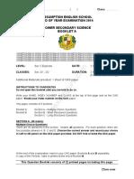 Sec 2 Science 2014 Final S