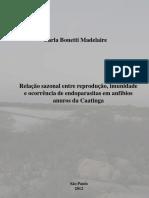 Relação Sazonal ente reprodução,  anfíbios anuros da caatinga