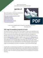 Anomalous Properties of Water
