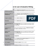 Useful Phrases for Use in Evaluative Writing