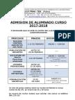 Prazos Admisión 2017-2018
