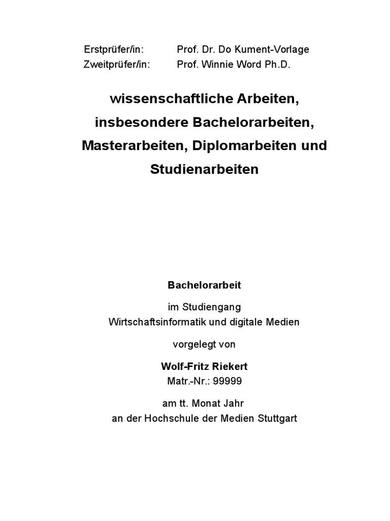 hdm bachelor thesis vorlage
