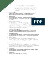 Listado de pasos para un flujo de producción gráfica