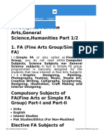 Fa Subjects for Fine Arts General Science Humanities Part 1- 2