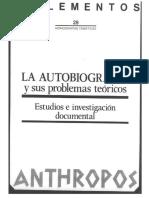 Ángel G. Loureiro, Problemas Teóricos de La Autobiografía (2)