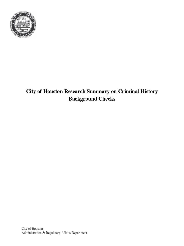 Houston Background Check White Paper | Criminal Record