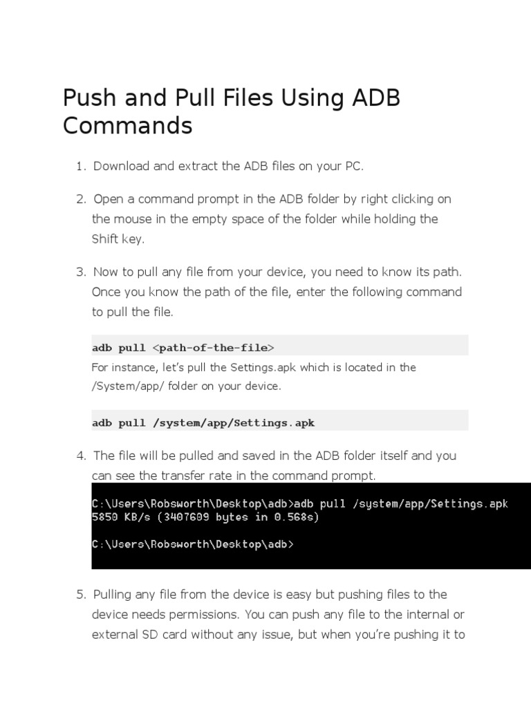 Push and Pull Files Using ADB Commands