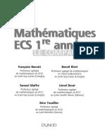 Mathématiques ECS 1re Année Le Compagnon