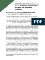 Un Análisis de La Debilidad Institucional Para El Ejercicio de Los Derechos Humanos en México