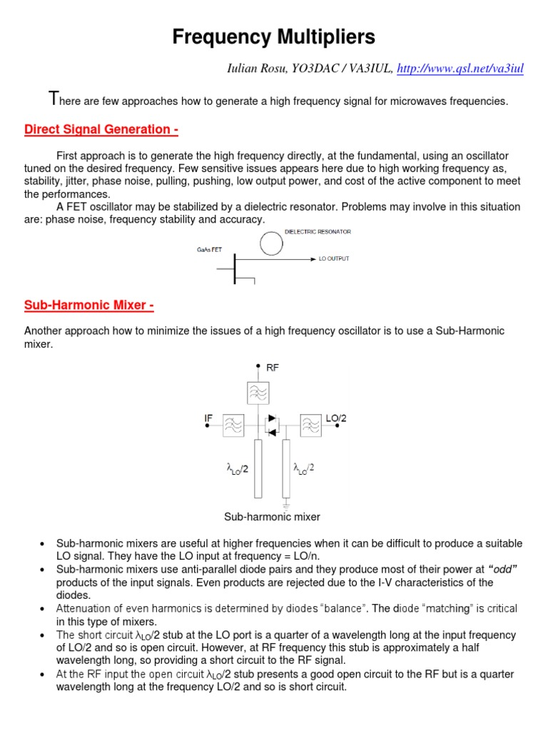 Frequency Multiplierspdf Field Effect Transistor Electronic Filter Low Cost Noise Generator