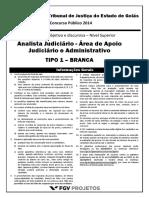 TJGO Analista Judiciario - Area de Apoio Judiciario e Administrativo (ANJUD-AA) Tipo 1
